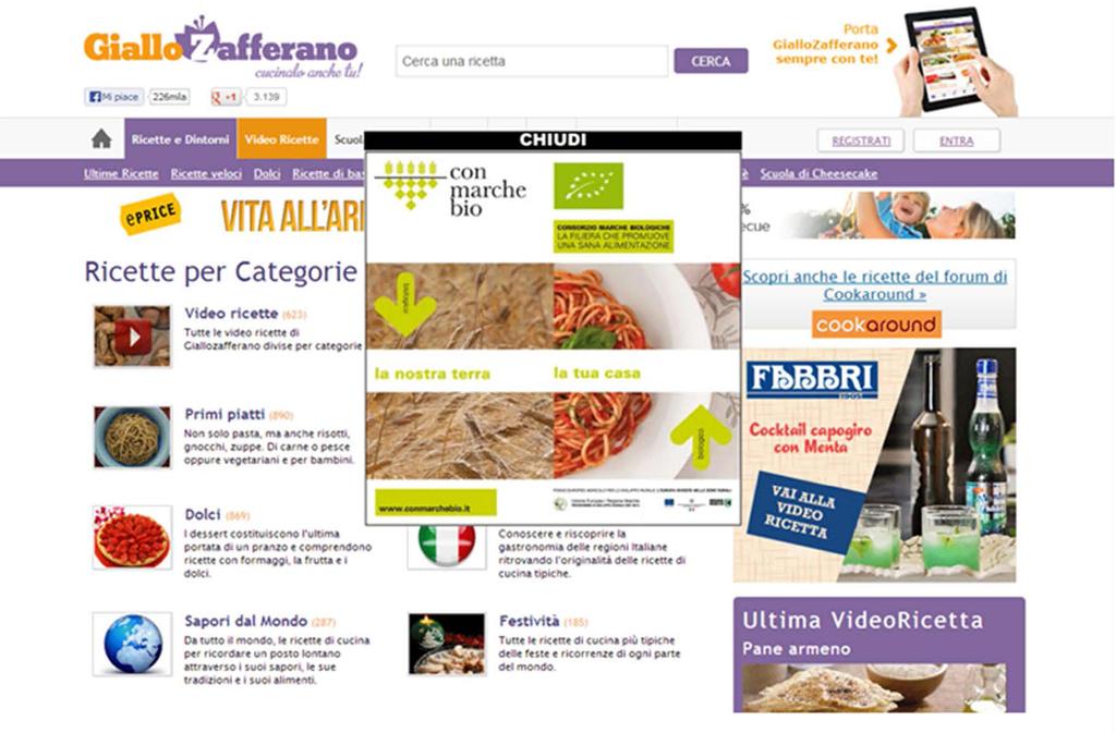 Banner giallo zafferano.it, maggio 2013